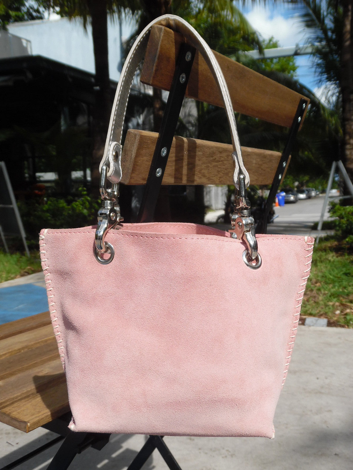 Gamini Mini Suede Bag With Topstitching Pink