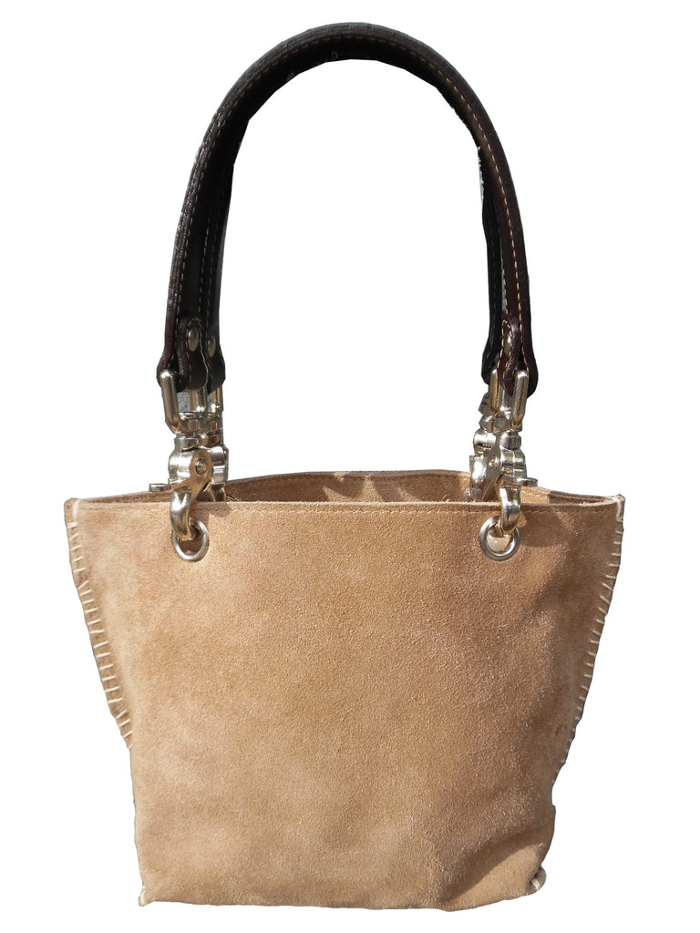 Gamini Mini Suede Bag With Topstitching Beige