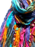 Hand Painted Cotton Large Scarf or Pareo