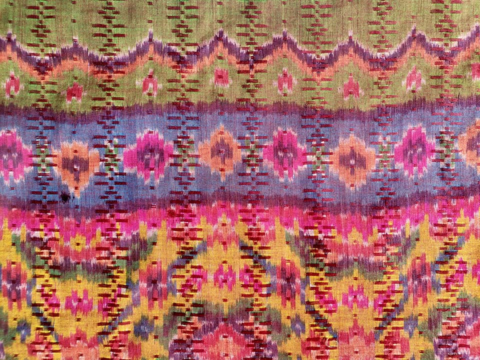 Silk and Cotton Ikat Textile