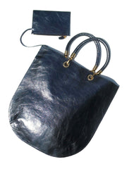 Flat Oblong Tote Bag Metallic Leather Anthracite And Bronze
