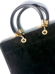 Flat Oblong Suede Tote Bag Black