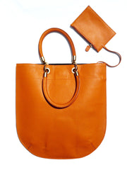 Flat Oblong Pebble Grain Leather Tote Bag Orange