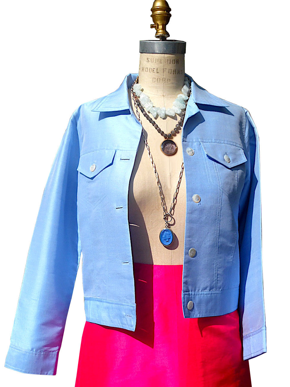 Jean Jacket Thai Silk And Mother Of Pearl Baby Blue Ivory