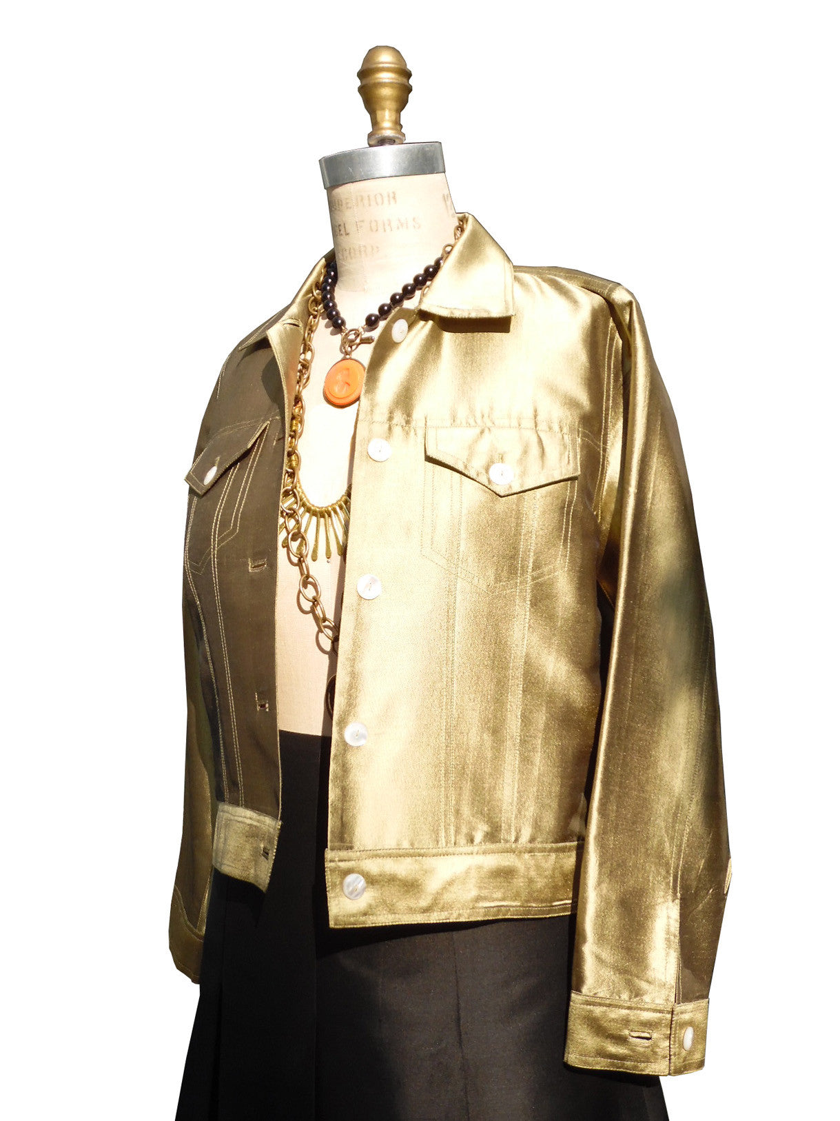Jean Jacket Thai Silk And Mother Of Pearl Brass Eggplant