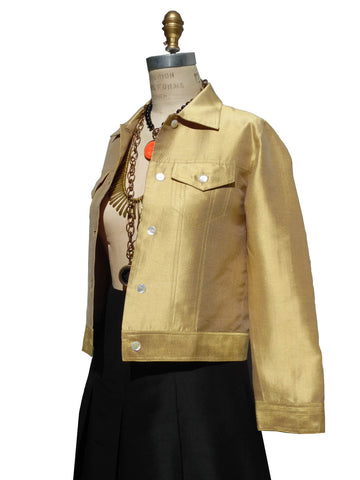Jean Jacket Thai Silk And Mother Of Pearl Gold