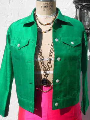 Jean Jacket Thai Silk And Mother Of Pearl Kelly Green