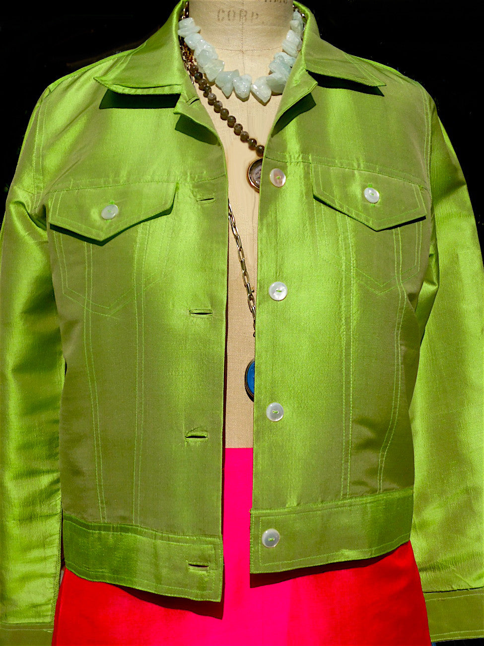 Jean Jacket Thai Silk And Mother Of Pearl Lime Candy Pink