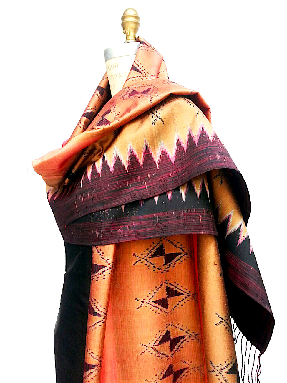 Large Silk Ikat Shawl Throw Terracotta Eggplant