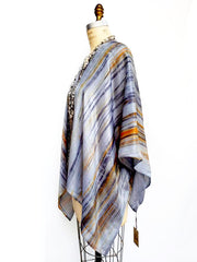 Silk Poncho Cape Hand Painted Watercolor