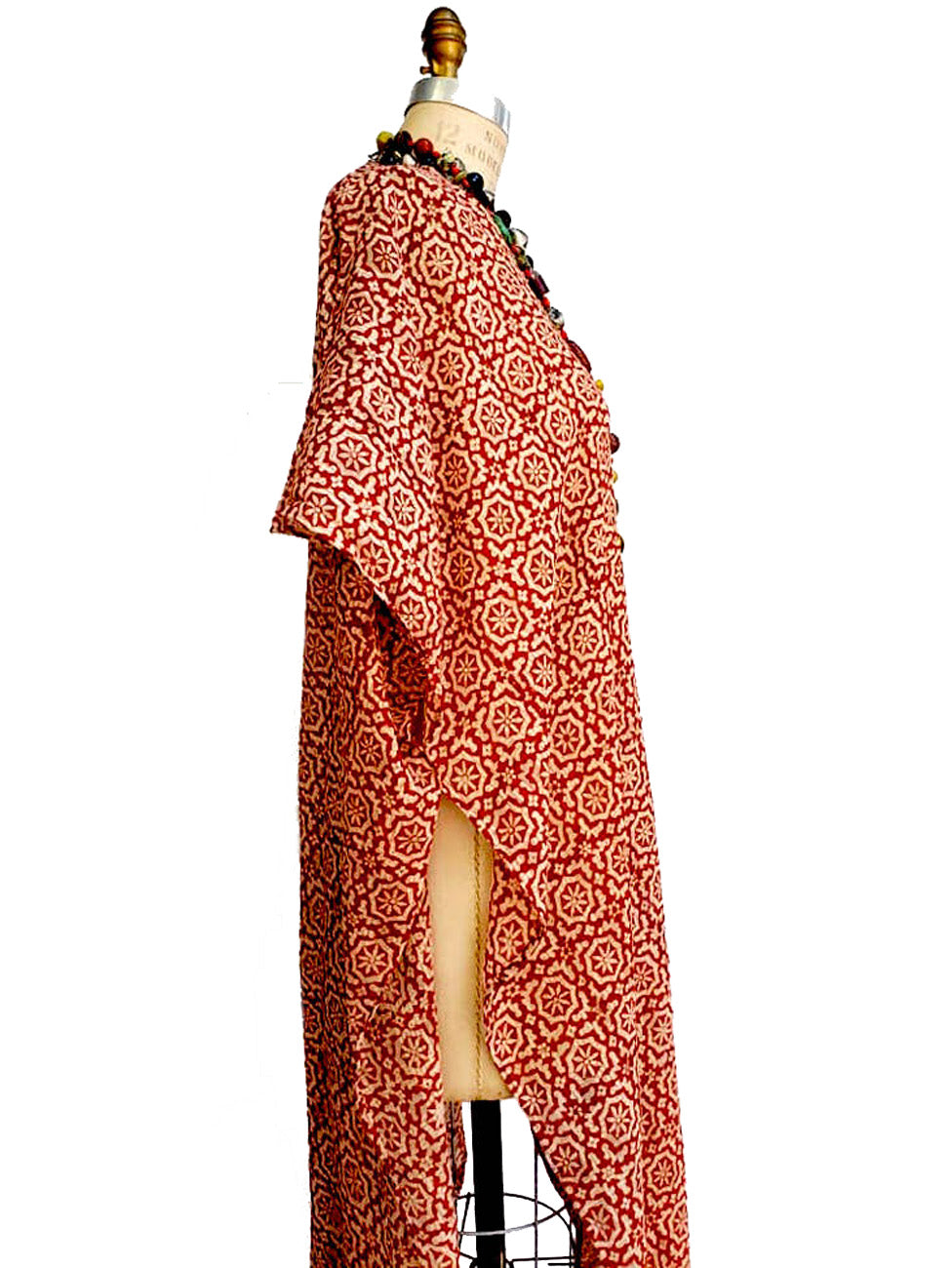 Cotton Hand Blocked Long Kimono Cape