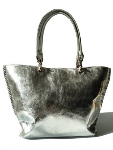 Gamidi 2 Handbag Metallic Leather Silver Gold
