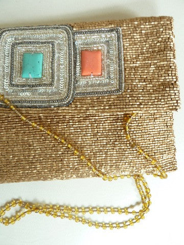 Beaded Envelope Bag with Turquoise Inlay