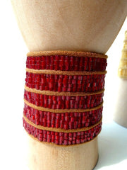 Brazilian Beaded Cuff Red Pink Crystal Gold