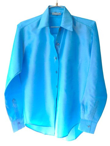 Thai Silk Button Down Shirt Cornflower