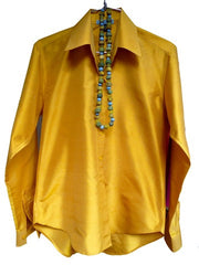 Thai Silk Button Down Shirt Mustard