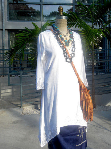 Cotton Linen Asymmetric Tunic With Appliqué