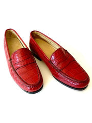 Crocodile Penny Loafers Hand Stitched 1 Pair Only Made