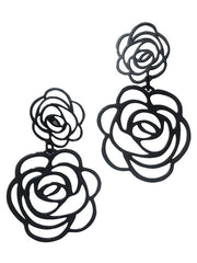Earrings Double Rose In Jet Plate Black On Brass