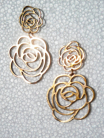 Earrings Double Rose In Gold On Brass