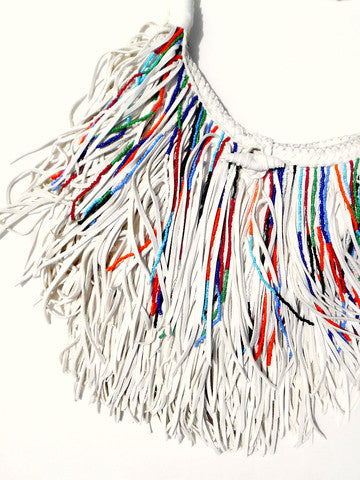El Fleco Crossbody Fringe Bag White with Beads