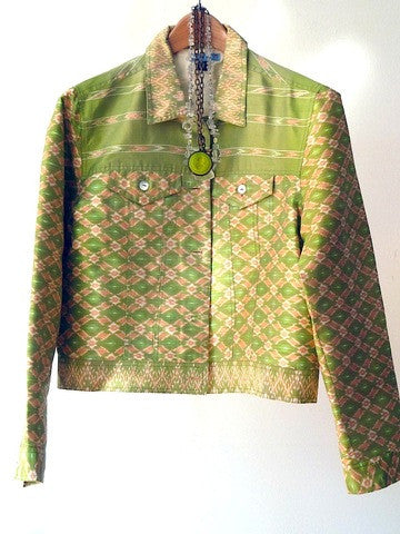 Jean Jacket Silk Ikat Mother Of Pearl Peridot Ivory
