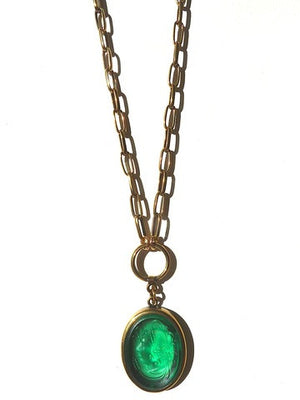 Necklace Intaglio Double Long Chain Oval