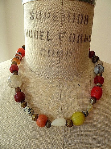 Necklace Multi Color Brass Carnelian Jade Glass