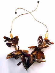 Necklace Orchid Shells And Agates Golden Brown