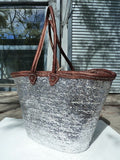Sequin And Leather Tote Silver
