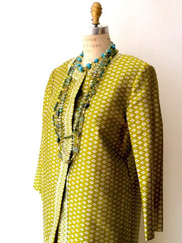 Silk Ikat Green And Silver Open Caftan Cocktail Coat