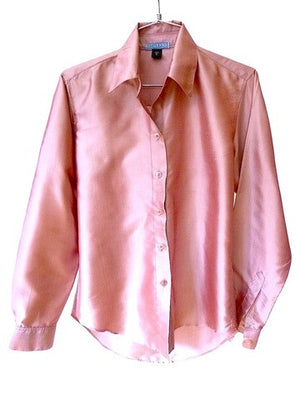 Thai Silk Button Down Shirt Iced Pink