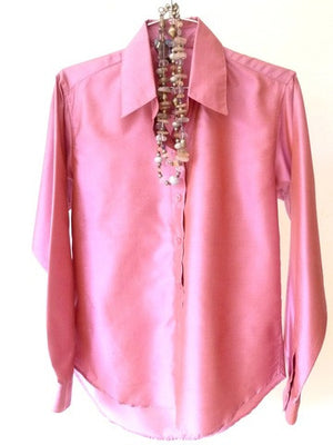Thai Silk Button Down Shirt Pink Tourmaline