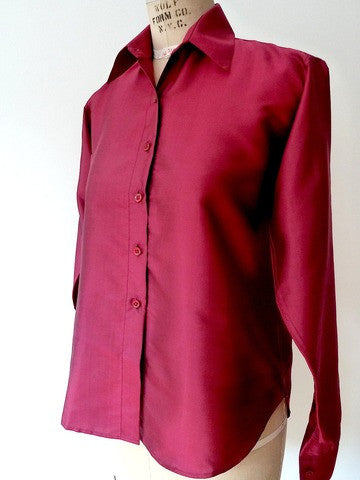 Thai Silk Button Down Shirt Garnet