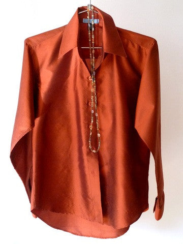 Thai Silk Button Down Shirt Copper
