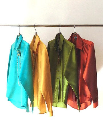 Thai Silk Button Down Shirt Moss Green