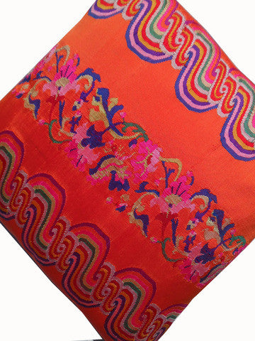 Burmese Silk Pillow Hot Orange