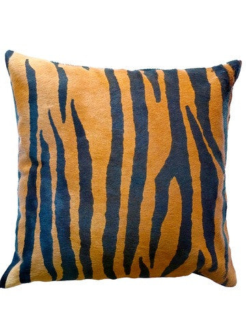 "Tiger Print Cowhide 20"" Pillow"