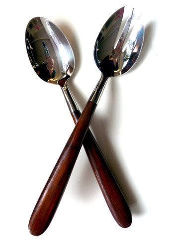 Rosewood And Stainless Steel Wave Pattern Salad Server Set