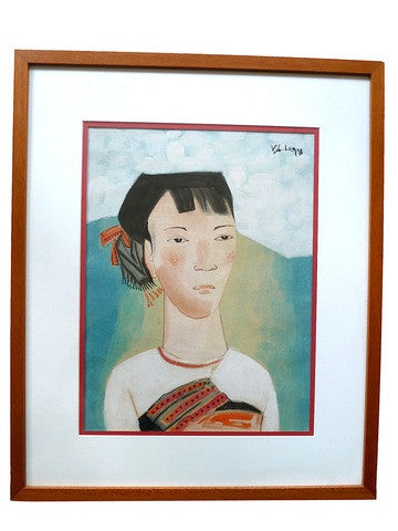 Vietnamese Watercolor Framed Bride Portrait