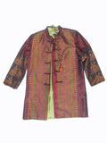 Long Mandarin Silk Ikat Evening Jacket with Lemongrass Lining