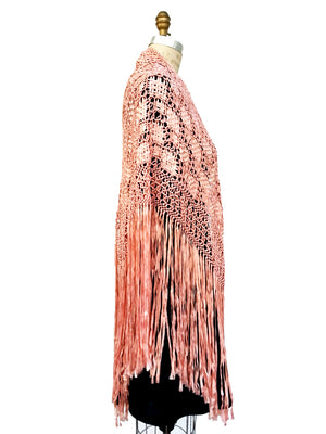 Silk Macrame Triangle Shawl Pink