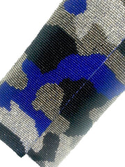 Beaded Envelope Clutch Bag Camo Blue Silver