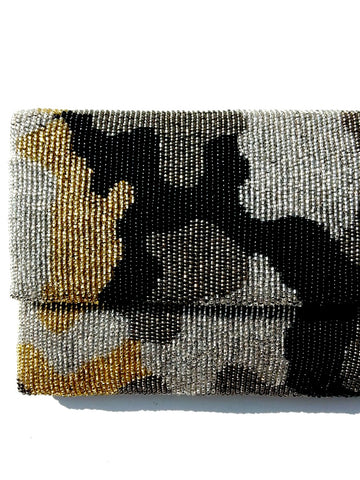 Beaded Envelope Clutch Bag Camo Gold