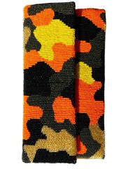 Beaded Envelope Clutch Bag Camo Orange