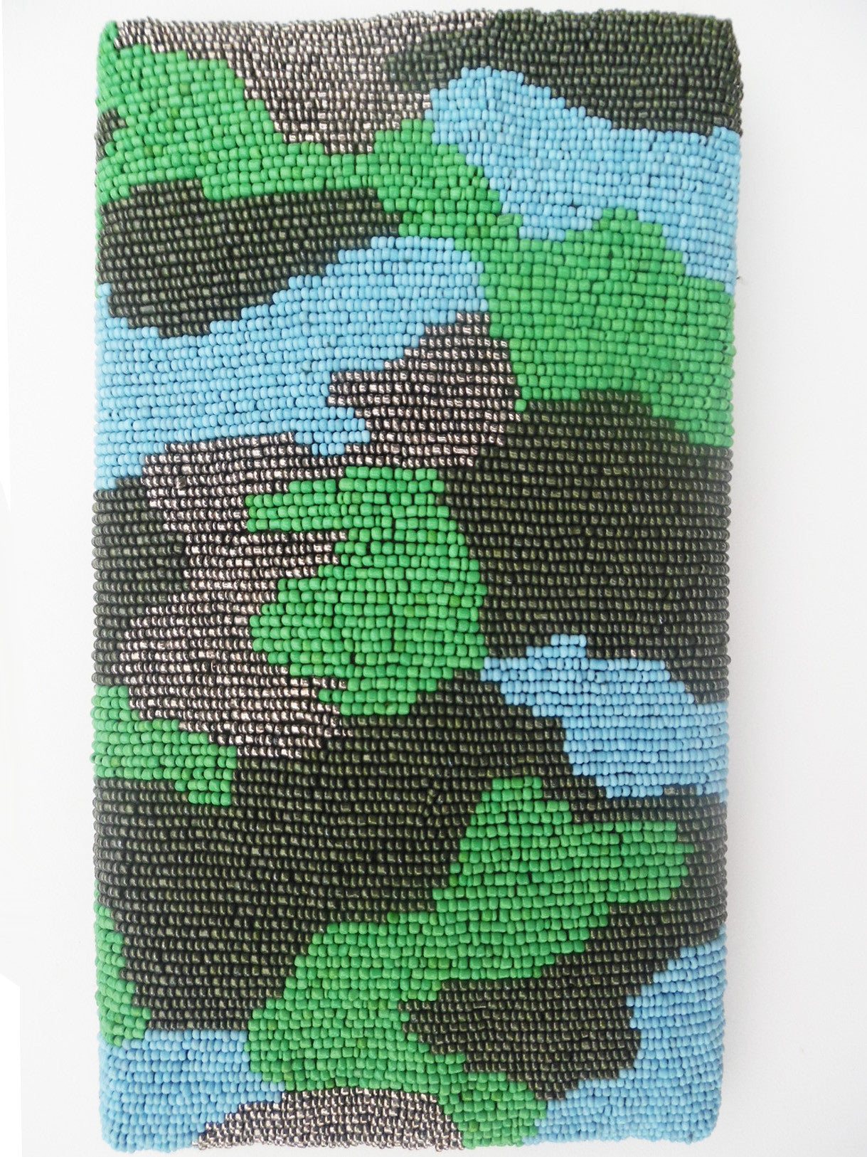 Beaded Envelope Clutch Bag Camo Turquoise
