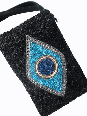 Beaded Evening Wristlet Bag Evil Eye