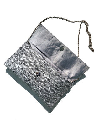 Beaded Envelope Clutch Bag Matte Silver
