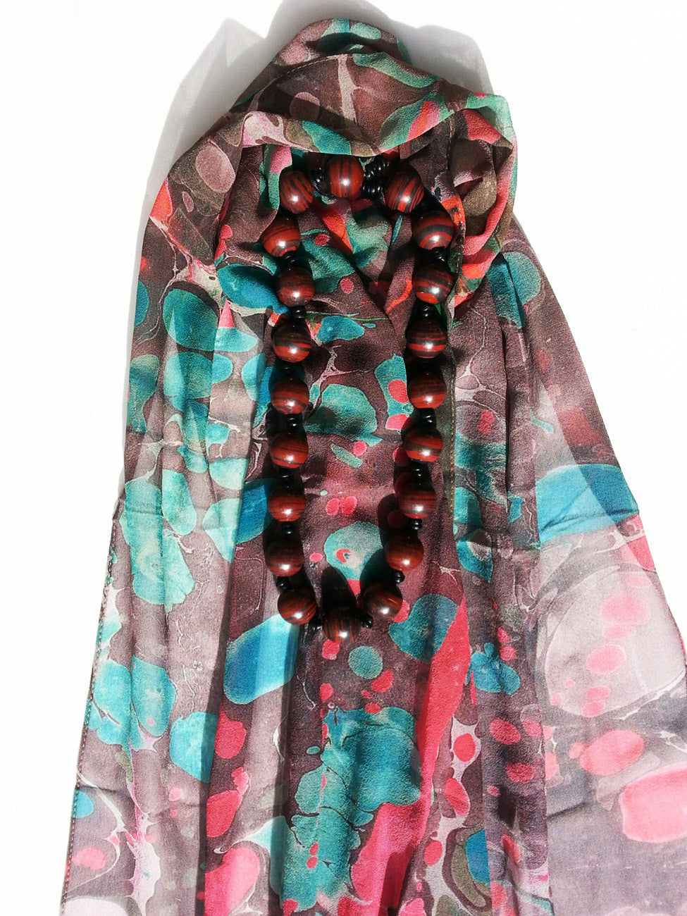 Marbleized Silk Chiffon Long Scarf Chocolate Strawberry