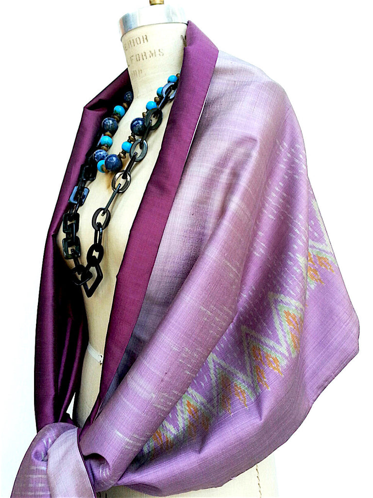 Silk Ikat Double Side Shawl Amethyst Eggplant